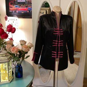 Good orient black satin jacket w/ hot pink closure